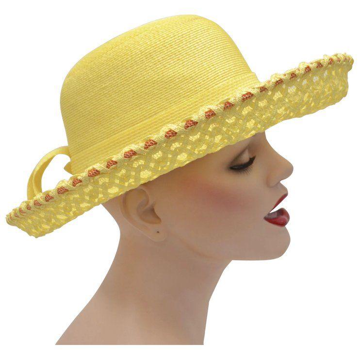 07a131f2177 c1960s Yves Saint Laurent Paris New York Designer Yellow w/ Orange Accents  Netted & Woven Straw Wide Brim Hat