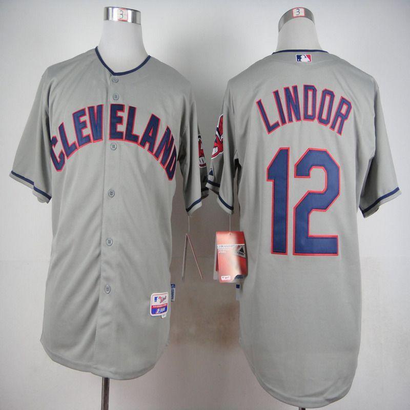 c4e327bcd9d MLB Cleveland Indians 12 Francisco Lindor Grey 2015 Jerseys