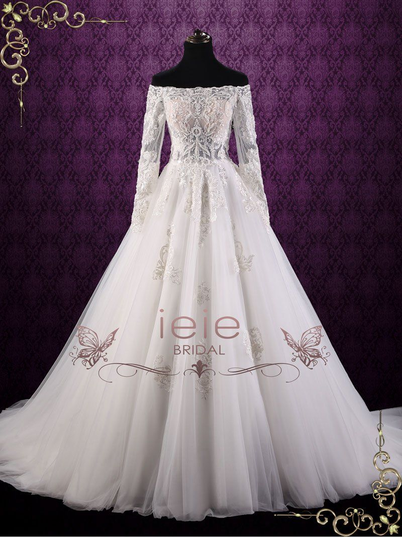 Off shoulder lace ball gown wedding dress cullen in