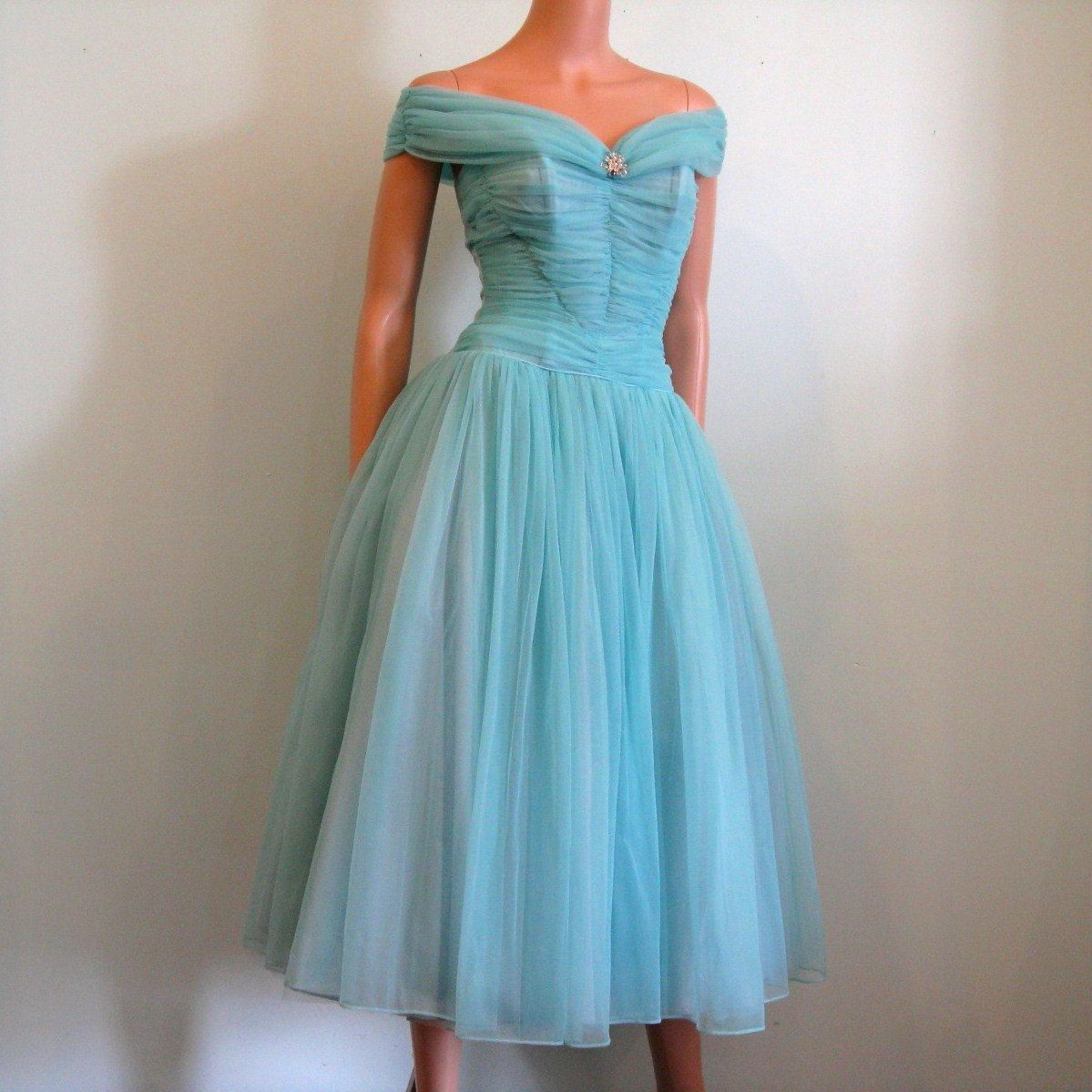 1950s Blue Party / Prom Dress, via Etsy. | Quirky Girl, Vintage ...