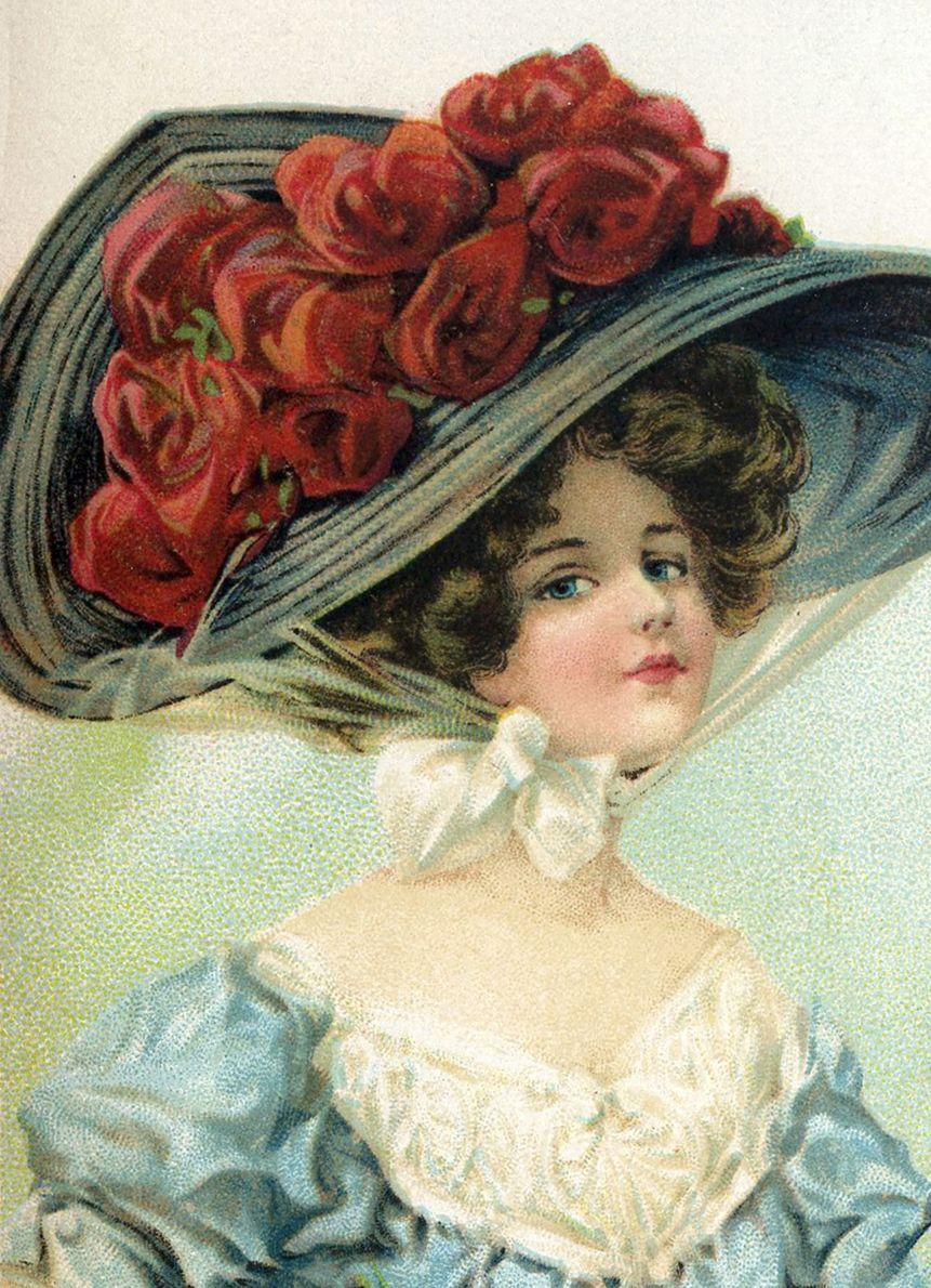 Открытки девушек в шляпе