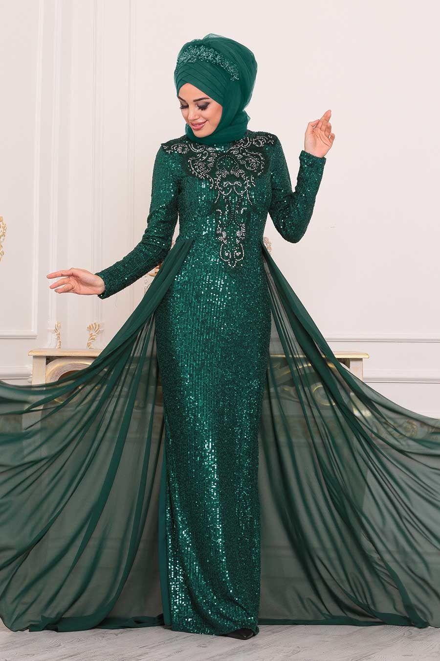 Nayla Collection Pul Payetli Yesil Tesettur Abiye Elbise 25724y Tesetturisland Com Moda Stilleri The Dress Elbise