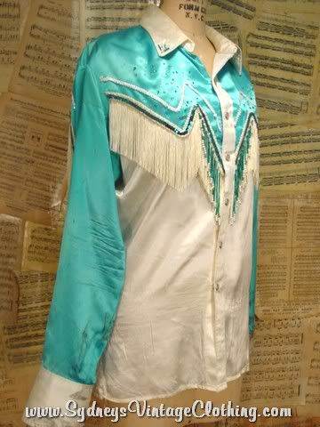 4dc3cf51 Vintage Western Shirts for women | Vintage 60's Satin Turquoise Fringe  Pearl Snap Western Shirt L Good for a Party