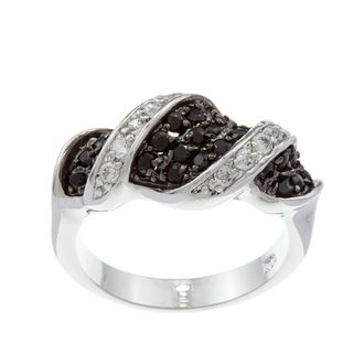 Kate Bissett Silvertone Black and Clear Cubic Zirconia Cocktail Ring