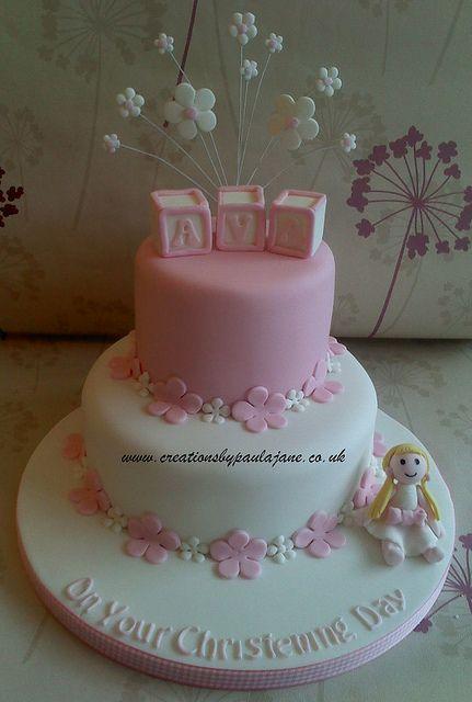 2 Tier Girls Christening Cake Or Baby Shower Cake