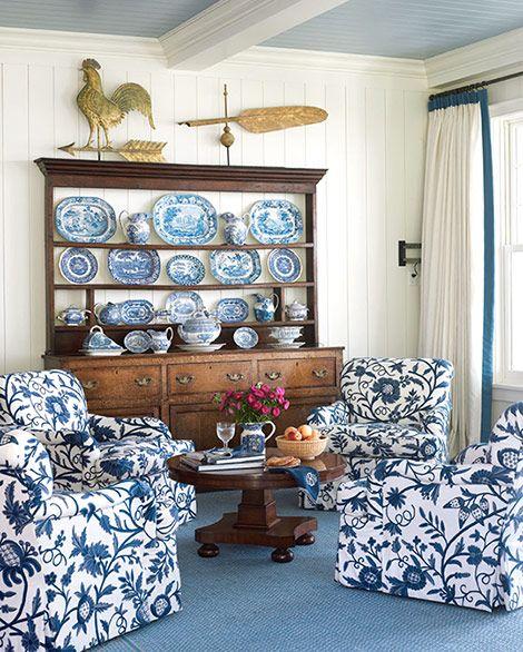 Salute To Summer Blue And White Living Room White Home Decor Blue Decor