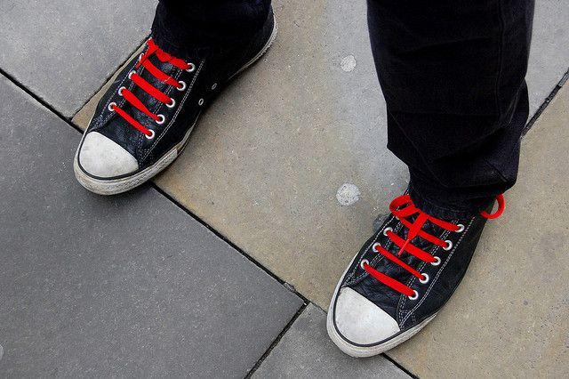 ab25738bad19 Black Leather with Red Laces - Converse