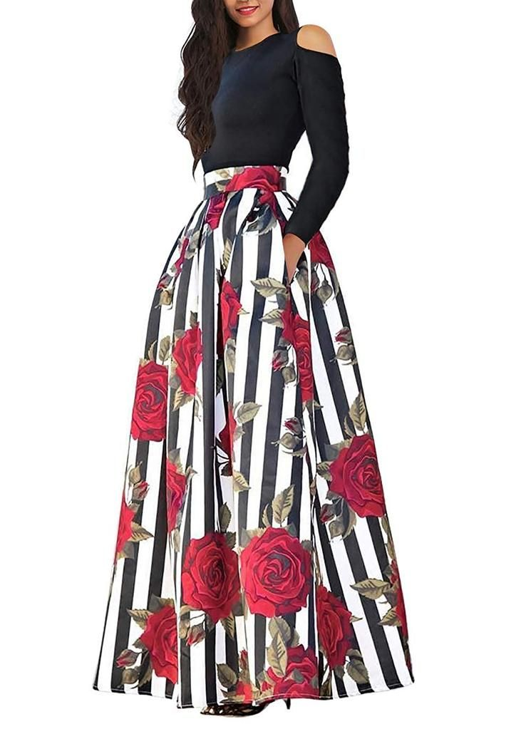 ed0f8df6de6a0 African Floral Print Long Skirt With Pockets | AFRICAN CLOTHING AND ...