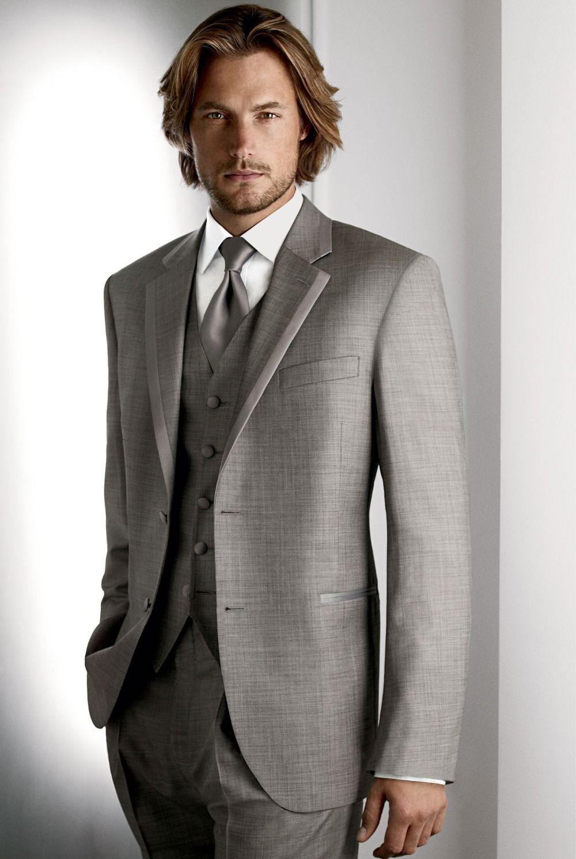 2014 Fashion Sexy men gray suit pants and vest grooms tuxedo ...