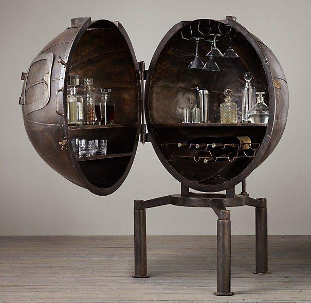 Steampunk Globe Bar Cabinet Decor We Love At Design Connection Inc