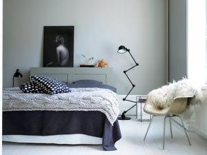 bolig-indretning-maling-sovevaerelse-seng-strik-plaid-sengetaeppe ...