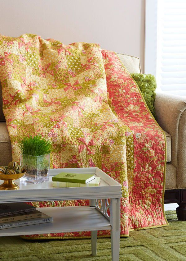 Fall in love with easy-to-piece coral pinwheels.Careful fabric placement  and selective quilting allow these subtle spinners to emerge at block  intersections.