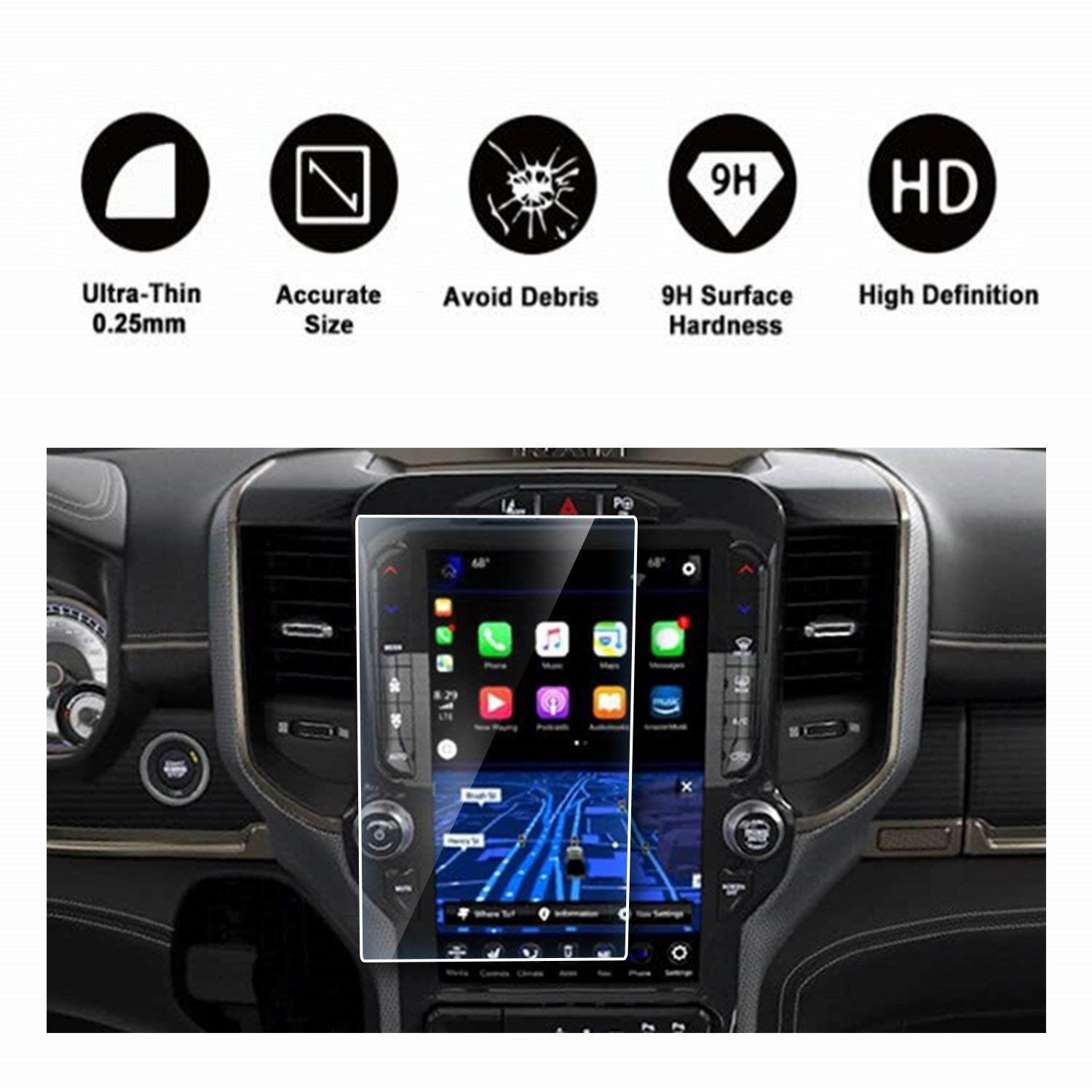 2019 Dodge Ram 1500 Uconnect Touchscreen Car Display Navigation Screen Protector Hd Clear Tempered Glass Protective Film Dodge Ram Navigation Dodge Trucks Ram