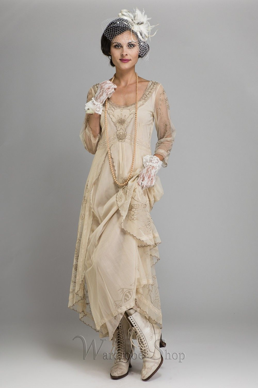 Downton Abbey Tea Party Gown In Pearl By Nataya Party Gowns Vintage Dresses Vintage Inspired Dresses [ 1500 x 1000 Pixel ]