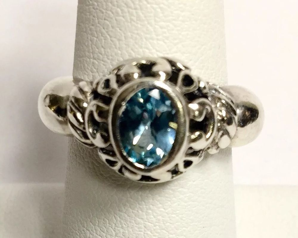 Sterling Silver 925 Natural Sky Blue Topaz Solitaire Ring Size 7 ...