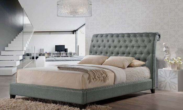Jazmin Tufted Modern Bed With Upholstered Headboard Upholstered