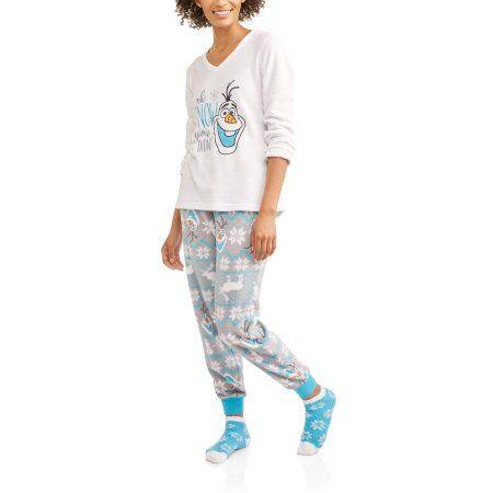 5a70fad8e8 Olaf Women s and Women s Plus License Pajama Plush Fleece Sleep Top and Pant  3 Piece Giftable Sleepwear Set - Walmart.com