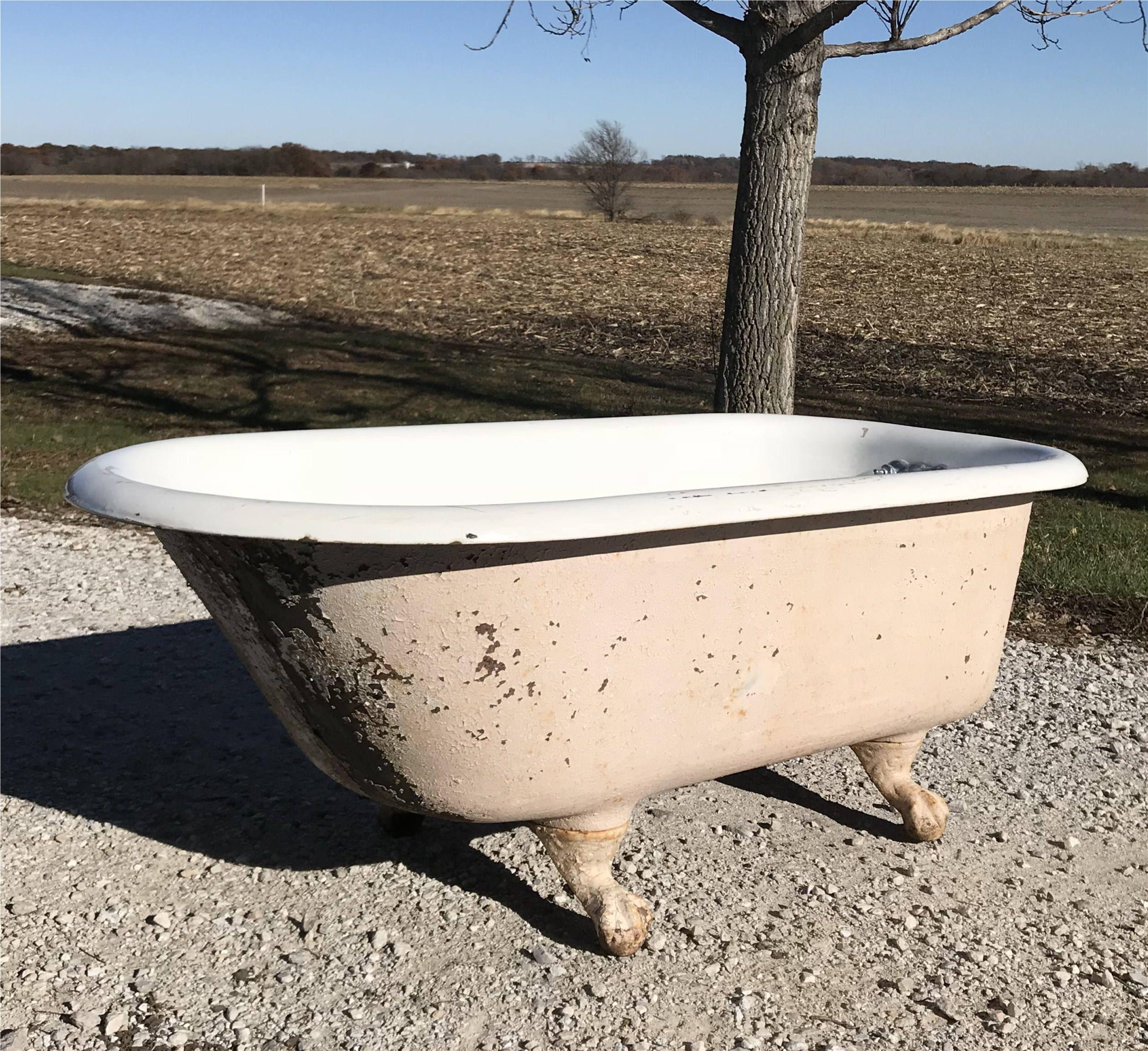 5\' Porcelain Claw Foot Bath Tub Vintage Art Deco Nouveau Victorian ...
