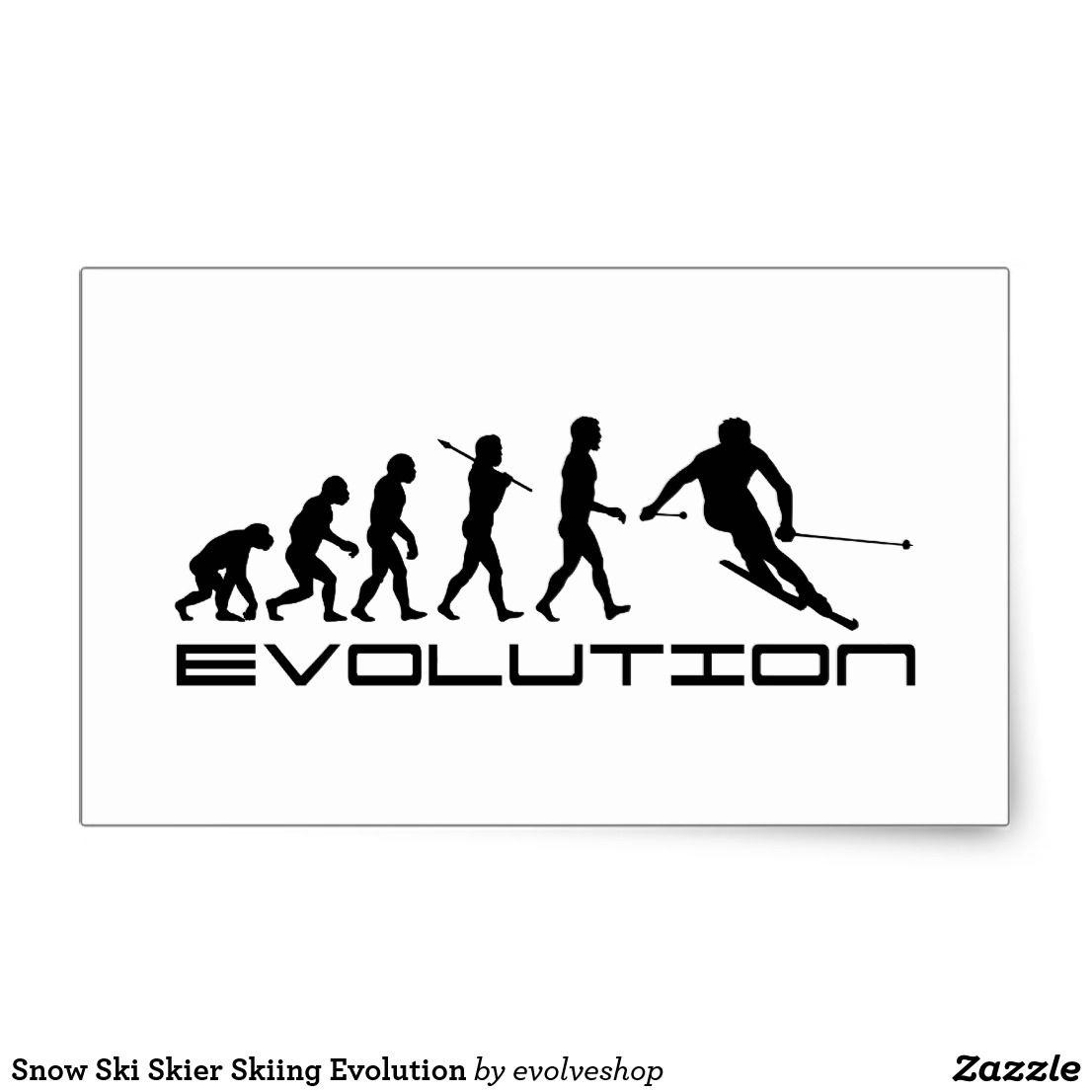 Snow Ski Skier Skiing Evolution Classic Sticker Ski Stickers Work Stickers Snow Skiing Skier [ 1106 x 1106 Pixel ]