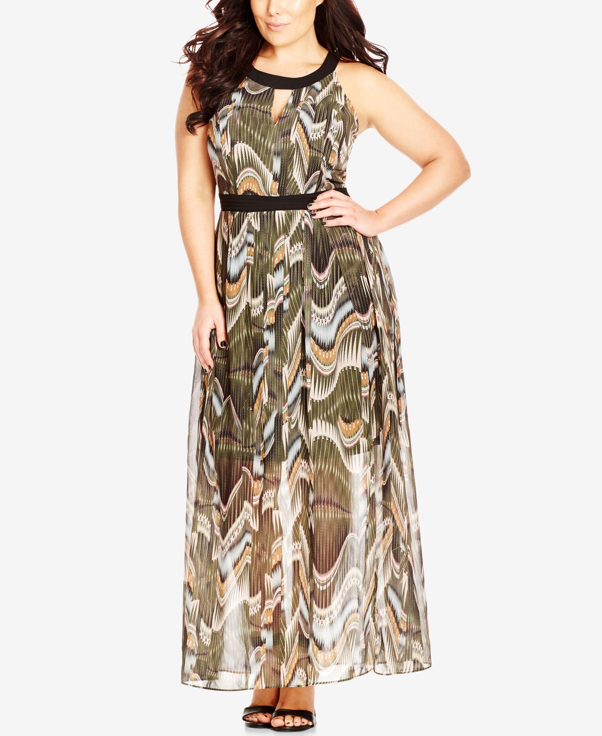 City Chic Plus Size High-Neck Printed Illusion Dress ...