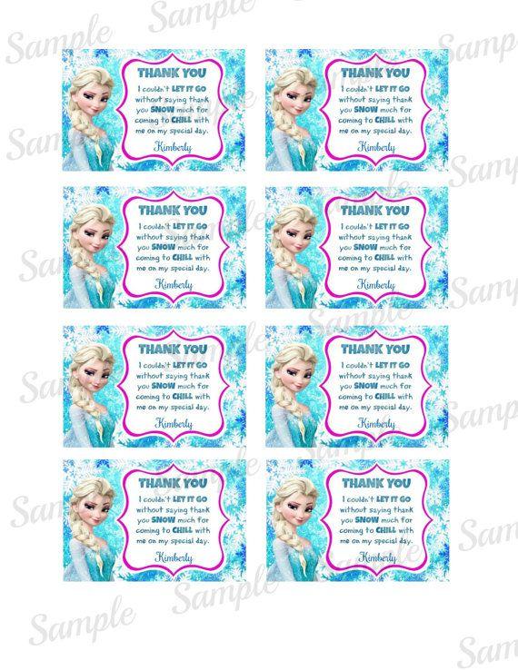 Frozen Thank You Card File Princess Printable Disney Frozen