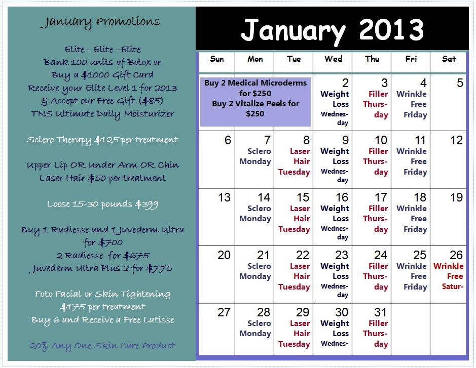Events and Promotions at Aurora Medical Spa beginning