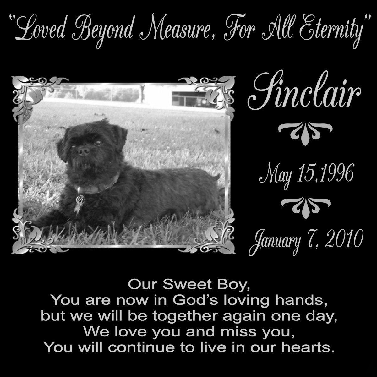 12 x 12 Lazer Gifts Personalized Our Sweet Boy Black Granite Pet Memorial Marker Style Sinclair * See this great image  : Dog Memorials