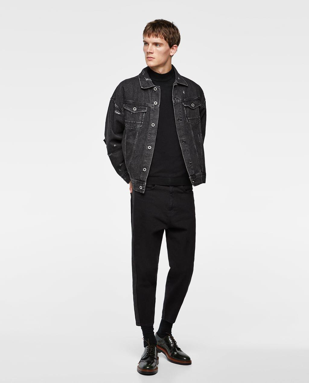 Men S Denim Jackets New Collection Online Zara Israel Black Outfit Men Denim Jacket Men Outfit Denim Jacket Men [ 1269 x 1024 Pixel ]
