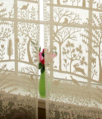 Heritage Rabbit Hollow Tree Of Life Lace Curtain