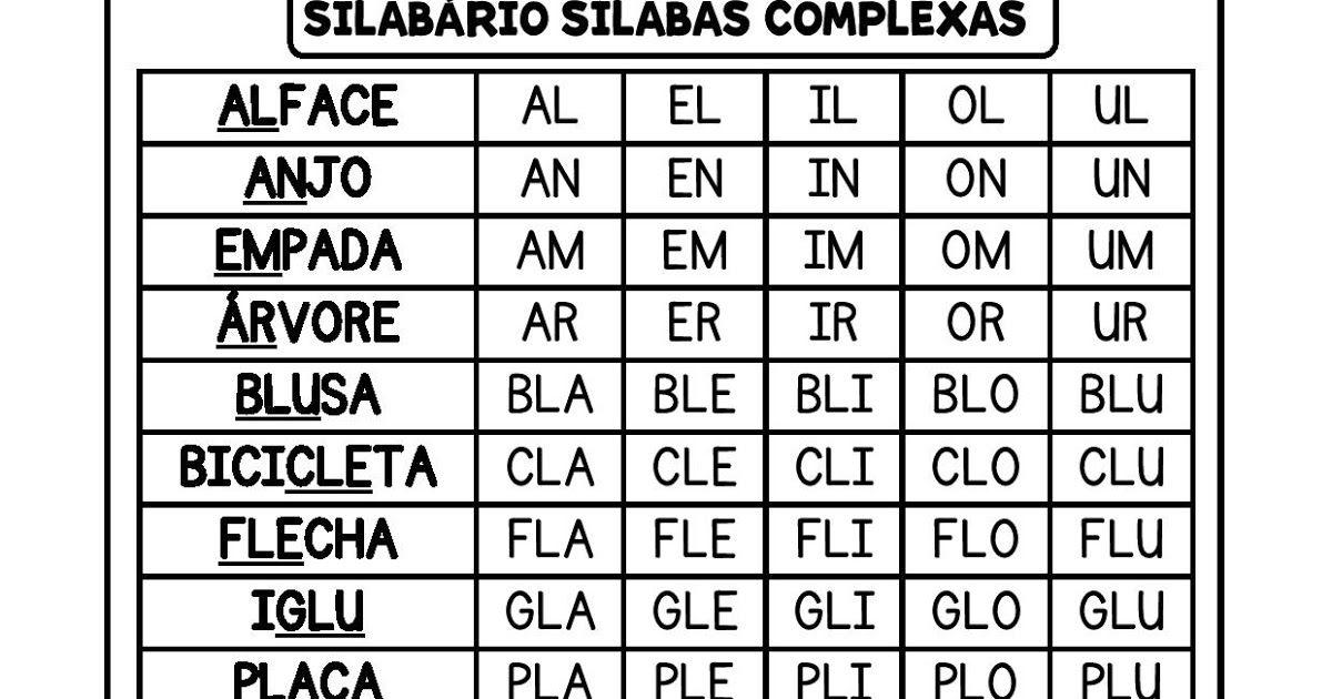 Silabario Silabas Complexas Para Caderno Atividades