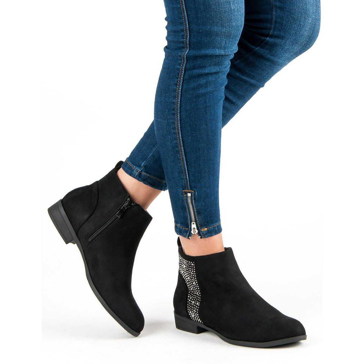 Sergio Todzi Eleganckie Plaskie Botki Czarne Ankle Boot Shoes Fashion