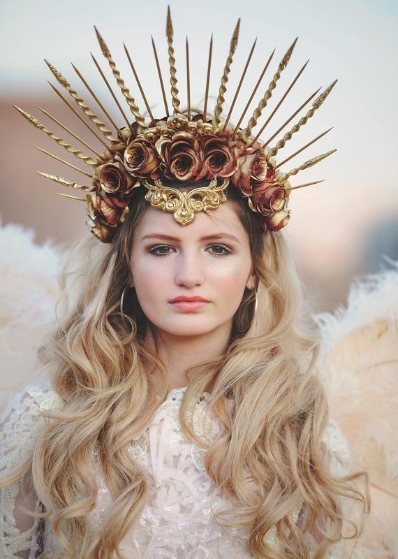 Goddess Halo Crown Sunburst Spiked Headband Womens Halloween Wedding Photoshoot Accessories