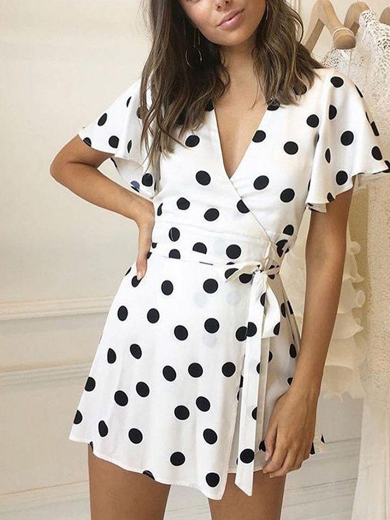 White Polka Dot V-neck Tie Waist Cape Sleeve Chic Women Mini Dress