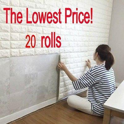 20 rollos 3d efecto piedra pared ladrillos papel pintado for Papel piedra pared