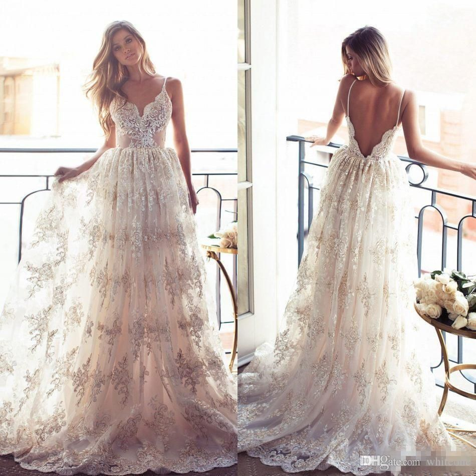 full lace a line wedding dresses backless lurelly bohemia
