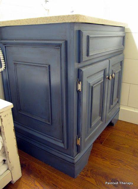 Oak Vanity Painted W Glaze Added Trim And Baseboard Feet On Bottom - Baseboard around bathroom vanity