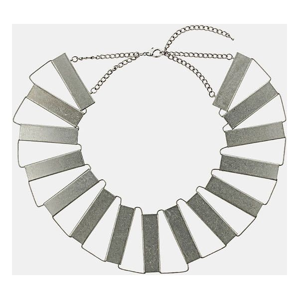 Topshop Linked Section Collar Necklace (355 ARS) ❤ liked on Polyvore featuring jewelry, necklaces, perrie, accessories, colares, silver, collar necklace, topshop, topshop jewelry e silver tone necklace