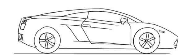 How To Draw A Car For Kids Lamborghini Gallardo Side View