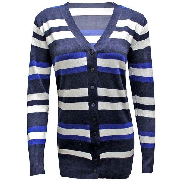 Navy Blue & White Striped Long Sleeve Knit V-Neck Cardigan Sweater ...
