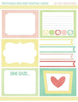 6 guys & a gal: Free Printable Journal Cards