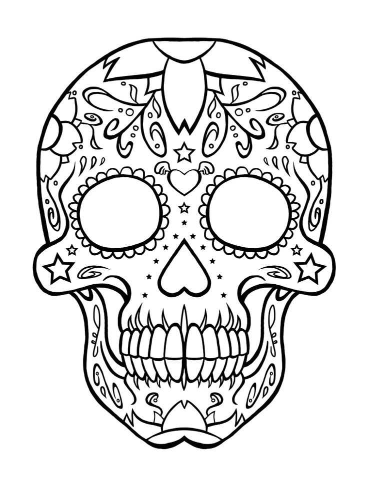 day of the dead skull coloring pages Free Printable Day of the Dead Coloring Pages | Craneos | Skull  day of the dead skull coloring pages