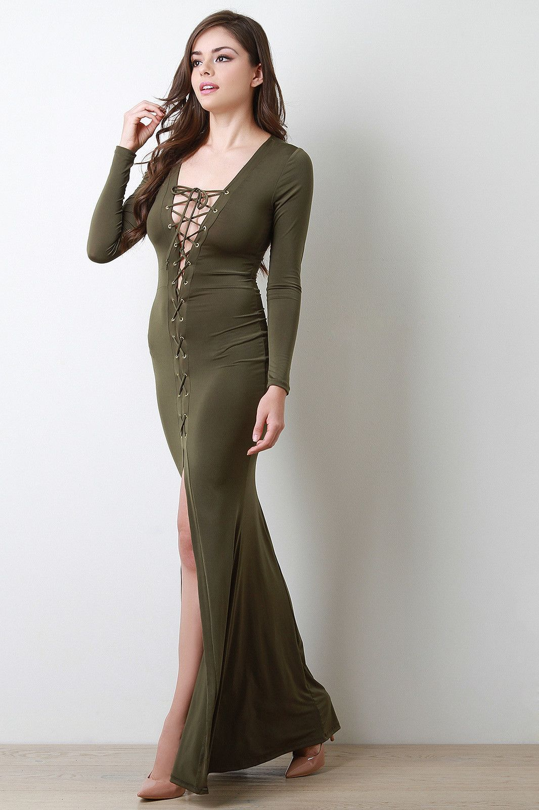 Corset laceup vent slit maxi dress products pinterest products