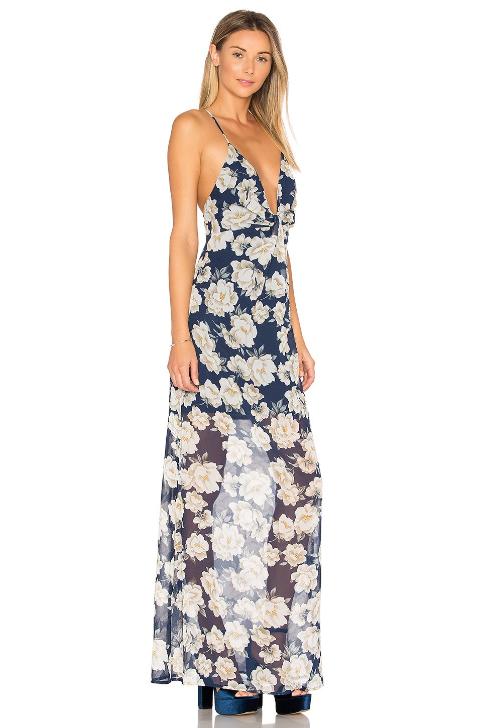 by the way. Heike Deep V Maxi Dress in Navy Floral | REVOLVE