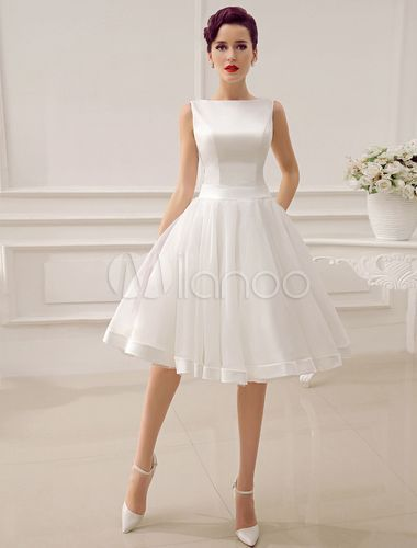 6e770537f3fbd Cut Out Backless Satin Short Wedding Dress with Bow Decor Sash - Milanoo.com