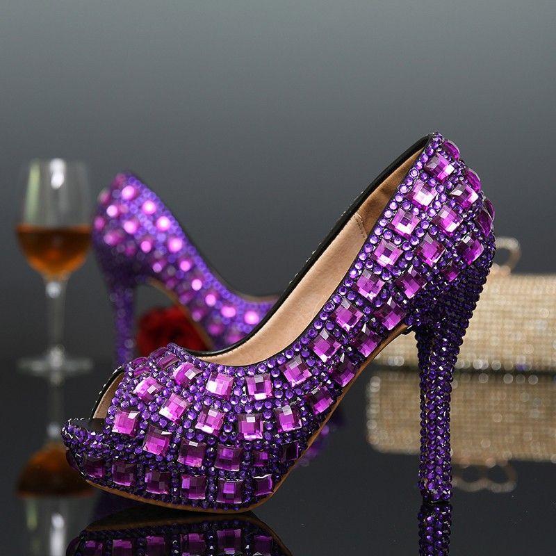 BS111 Púrpura Mujeres tacones Altos Bombas Peep Toe Sexy Crystal ...