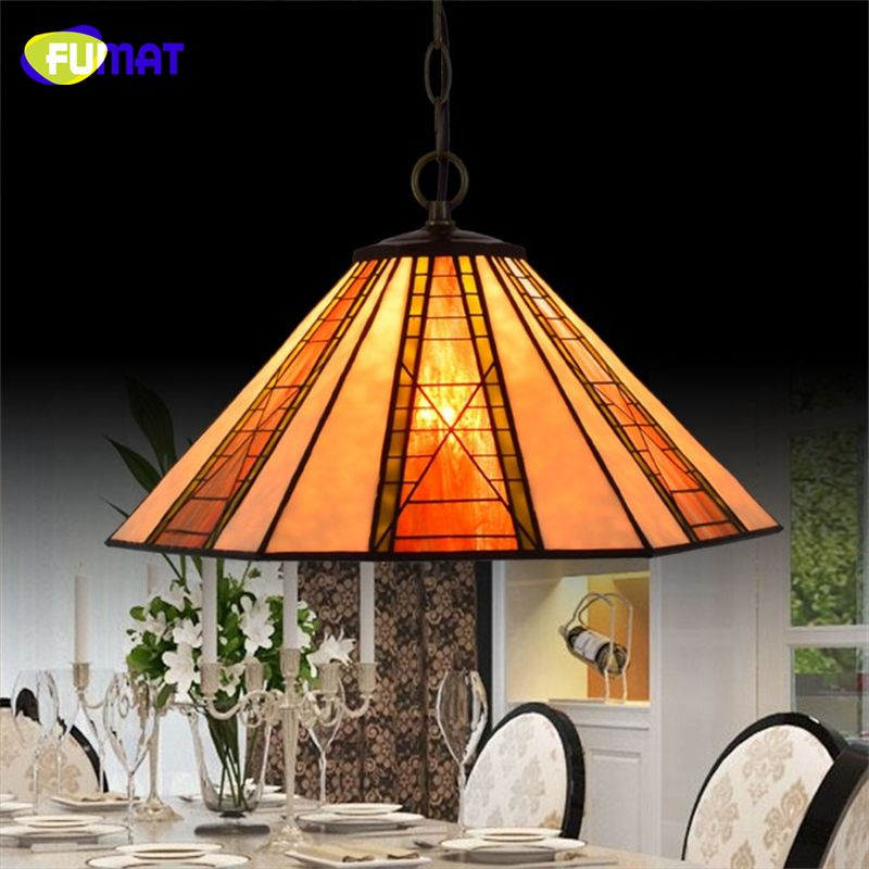 Fumat European Brief Vintage Art Tiffany Pendant Lights Hexagonal Magnificent Stained Glass Light Fixtures Dining Room Inspiration Design