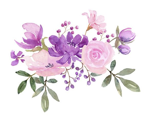 Fresh Springtime Flowers In Purple Pink And Lavender Watercolor Collection Wedding Clip Art Watercolor Clipart For Diy Invitations Flower Art Watercolor Flowers Paintings Flower Painting