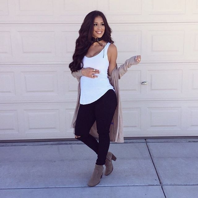 956c4aba69bbc #21weeks Tank & choker: @yellowfoxboutique Maternity jeans & cardigan:  @fashionnova use code Xoyvette to save (search canopy maternity jeans and  never ...