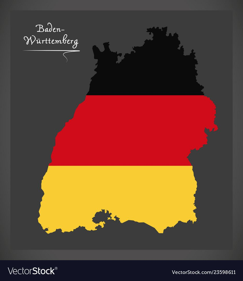 Baden Wuerttemberg Map Of Germany With German Flag Vector Image Germany Map Baden Wurttemberg German National Flag