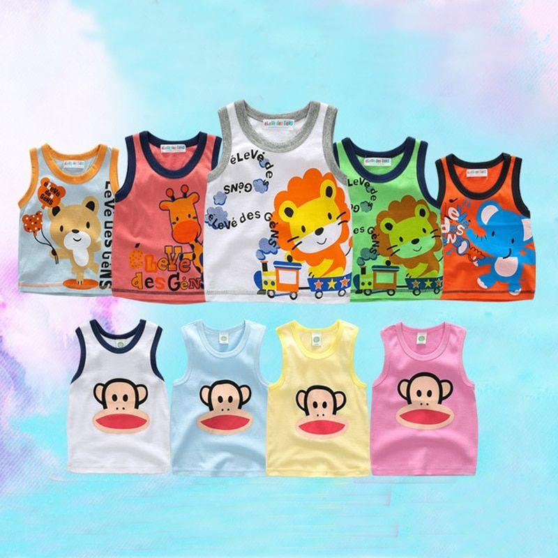 db0cd5558 1-2Yrs Summer Baby Sleeveless Vest Cotton Baby Boy Sleeveless T-shirts Baby  Girl Cartoon Vest Summer Tees Shirts Free Shipping - Buy it Now!